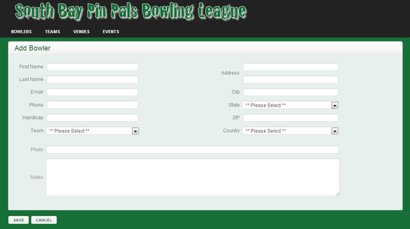 Add Bowler Page