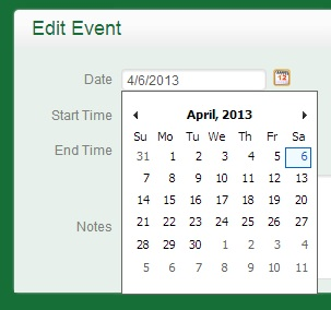 Date Selector Expanded